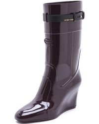 Sergio Rossi Rubber Wedged Boots - Lyst