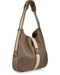 Tory Burch - Patty Texturedleather and Canvas Hobo Bag - Lyst