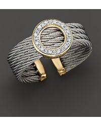 Charriol - Round Ring with Diamonds in 18 Kt Yellow Gold and Stainless Steel - Lyst