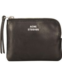 Acne Studios - Small Black Leather Zip Coin Pouch - Lyst