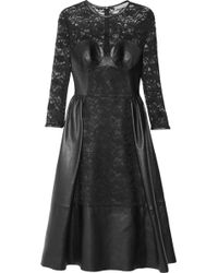 Mulberry - Paneled Leather and Lace Dress - Lyst