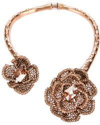 Oscar de la Renta Embellished Rose Necklace - Lyst