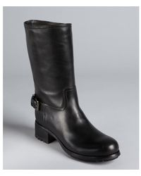 Prada Sport Black Leather Buckle Strapped Midboots - Lyst