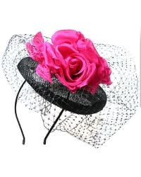 Alexon - Pink and Black Rose Netted Disc Fascinator - Lyst