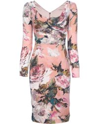 Dolce & Gabbana Floral Print Fitted Dress - Lyst