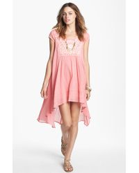 Free People Marina Embroidered Highlow Dress - Lyst