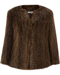 Kenneth Cole - Collarless Short Fur Coat - Lyst