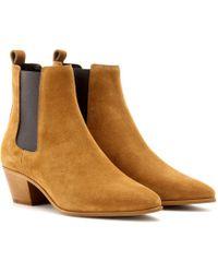 Saint Laurent Wyatt Suede Chelsea Boots - Lyst