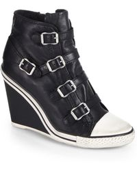 Ash Thelma Leather Wedge Sneakers - Lyst