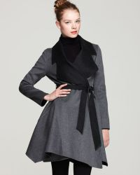Dawn Levy Ria Cashmere Wool Belted Coat with Contrast Wrap - Lyst