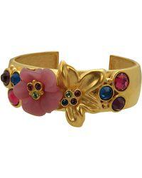 T Tahari - 14 Kt Goldplated Floral Cuff Bracelet - Lyst