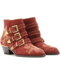 Chloé Susanna Studded Leather Buckle Ankle Boots - Lyst