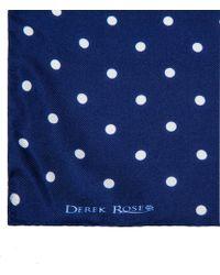 Derek Rose Navy Polka Dot Print Silk Handkerchief - Blue