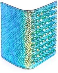 Christian Louboutin Paros Studded Hologram Leather Wallet blue - Lyst