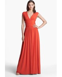 Halston Heritage Crisscross Detail Jersey Gown - Lyst