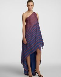 Halston Heritage Striped Draped Gown One Shoulder - Lyst