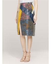 Preen By Thornton Bregazzi Python Patchwork Slit Skirt - Lyst