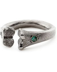 Rachel Entwistle - Black Silver Bone Ring With Emeralds - Last One - Lyst
