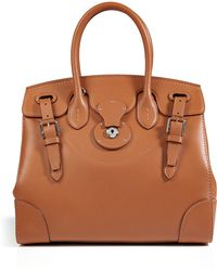 1323fbe13007 Ralph Lauren Collection - Leather Soft Ricky Tote in Gold - Lyst