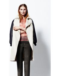 Sophie Hulme   Creamnavy Zip Front Mac with Leather Sleeves By   Lyst