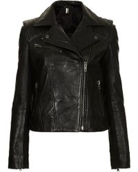 Topshop Leather Biker Jacket - Lyst