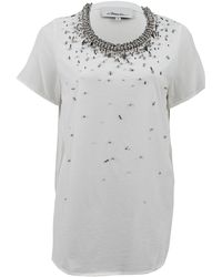 3.1 Phillip Lim Curved Hem Tshirt with Beading - Lyst