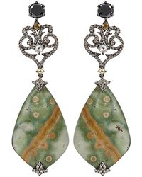 Bochic | Green Orbicular Quartz Mother Of Pearl Earrings | Lyst