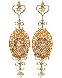 Bochic - Orange Speckled Enamel Diamond Icon Earrings - Lyst
