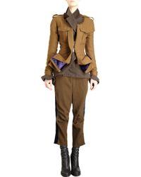 Haider Ackermann Frayed Neckline Double Zip Front Peplum Jacket - Lyst