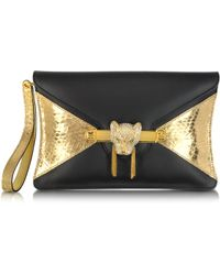 Thale Blanc - Toni Nappa Leather and Golden Python Clutch - Lyst