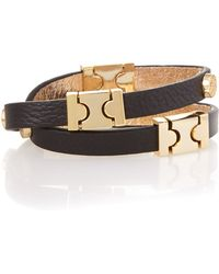 Biba - Leather Double Wrap Wrist Cuff - Lyst