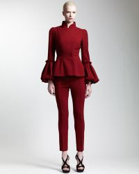Alexander McQueen Abbreviated Pintuck Pants Ruby - Lyst