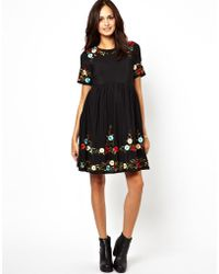 64b86a133d6f4 ... asos maternity exclusive swing dress with floral applique and cap  sleeve ...