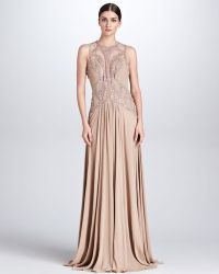 Elie Saab Beaded Cutout Gown Bisque - Lyst