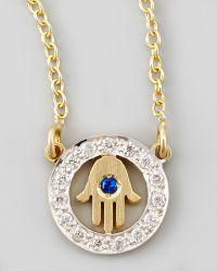 Kacey K - Cutout Hamsa Xs Diamond Necklace - Lyst