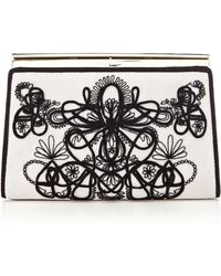 Karen Millen Graphic Lace Embroidery Clutch - Lyst