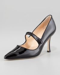 Manolo Blahnik Campari Patent Leather Mary Jane - Lyst
