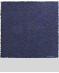 Oscar de la Renta Feather-print Square Scarf Marine Blue - Lyst