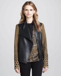 Robert Rodriguez | Twotone Leather Grommet Jacket | Lyst