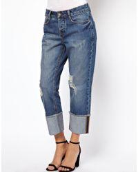 Asos Brady Slim Boyfriend Jeans in Vintage Wash with Raw Hem Deep Turn Up - Lyst