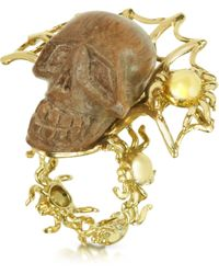 Bernard Delettrez - Gold With Wooden Skull Web Ring - Lyst