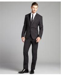Dolce & Gabbana Charcoal Wool-Silk Blend Satin Lapel Tux With Flat Front Pants - Lyst