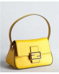 Fendi Yellow and Black Leather Mama Mini Baguette - Lyst
