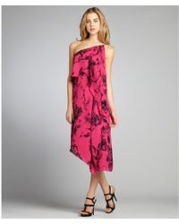 Halston Heritage Fuchsia And Black Printed Silk Tiered One Shoulder Dress - Lyst