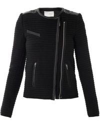 IRO Ribbed Leather Trim Jacket - Lyst