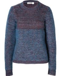 Jil Sander Cashmere-Mohair Pullover In Avio Mouline - Lyst