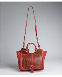 Kelsi Dagger Brooklyn - Red Leather and Croc Embossed Mara Convertible Top Handle Bag - Lyst