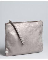 Kooba - Silver Metallic Leather Wristlet Cosmetic Case - Lyst