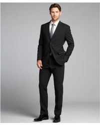 Luigi Bianchi Mantova Black Stretch Wool Two Button Suit with Flat Front Pants - Lyst