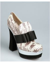 Miu Miu Ivory And Black Snake Embossed Leather Bow Loafer Heels - Lyst